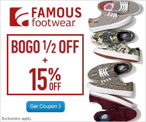 Famous Footwear Coupon - Buy One Get One 50% Off + 15% Off