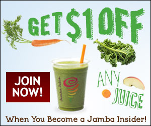 Jamba Juice banner to promote Jamba Juice coupon offer for any $16 oz smoothie only $2