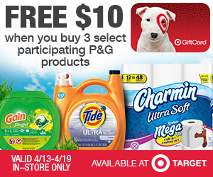 P&G Target Savings deal for FREE $10 Target gift card wyb 3 select P&G products
