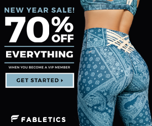 Ad for 70% off at Fabletics, picture of backside of woman in leggings